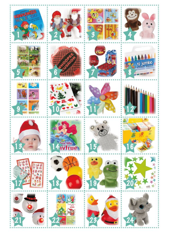 Package calendar boy 2-3 years - 24 calendar gifts